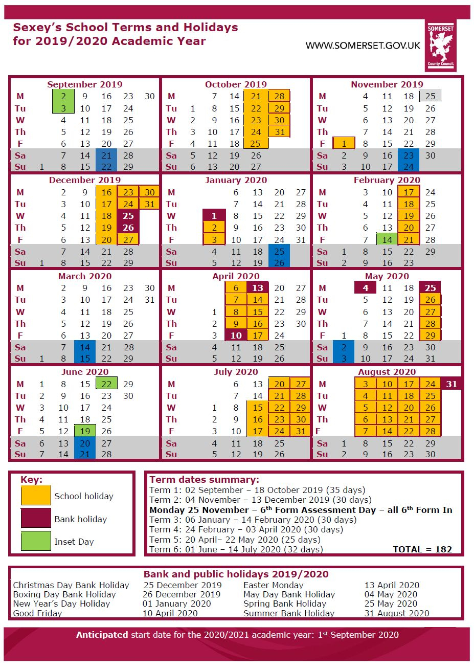 Term Dates 1920  Sexeys : Sexeys in Matravers School Calendar