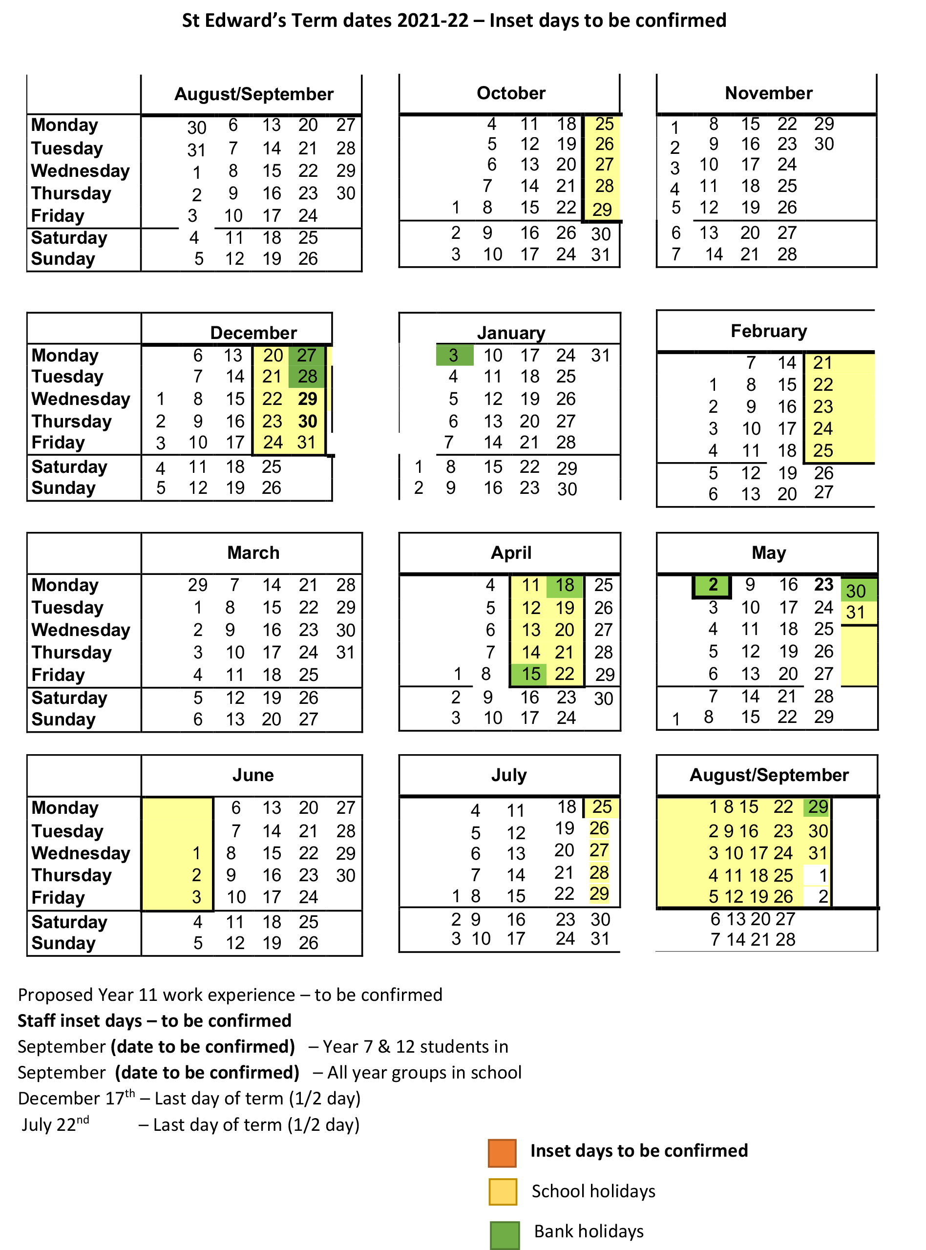 Term Dates 20212022  St Edwards School inside Matravers School Calendar