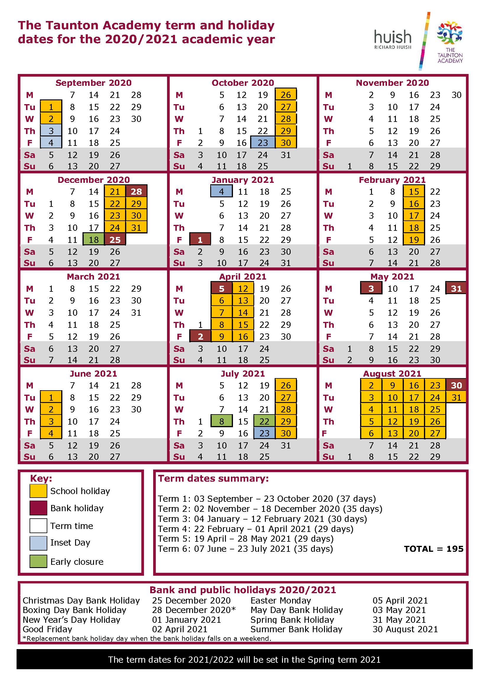 Term Time Dates | The Taunton Academy pertaining to Matravers School Calendar