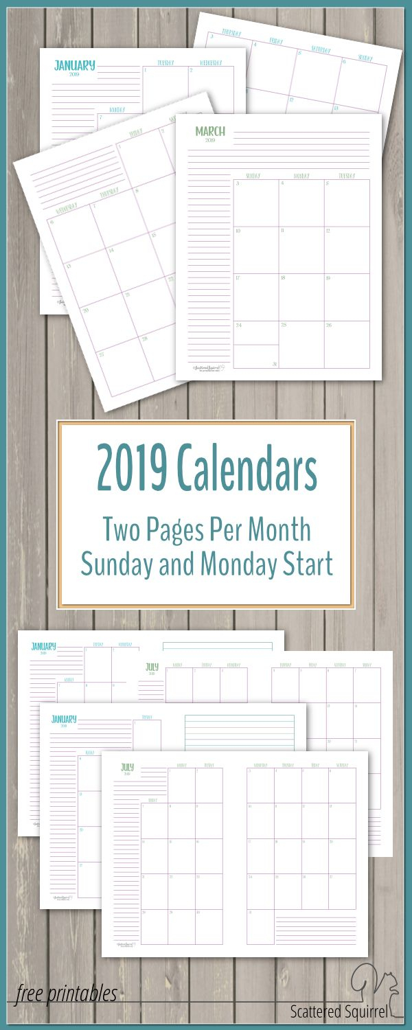 The Two Pages Per Month 2019 Calendars Are Ready regarding Scattered Squirrel Monthly Calendar