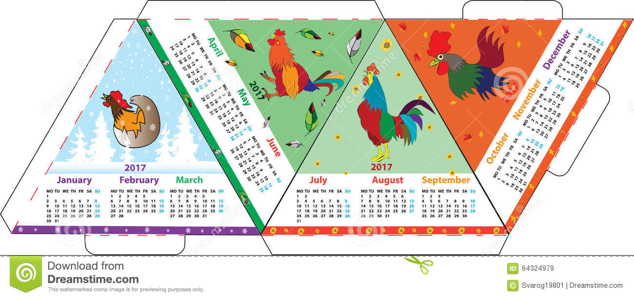 Triangular Layout A4 Calendar For 2017 Rooster Stock Vector regarding Cock Fighting Calendar