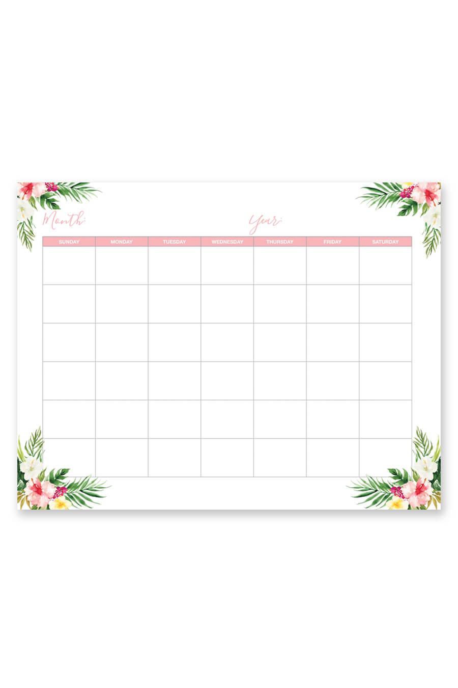 Tropical Blank Printable Calendar  Chicfetti with regard to Empty Calendar Printable