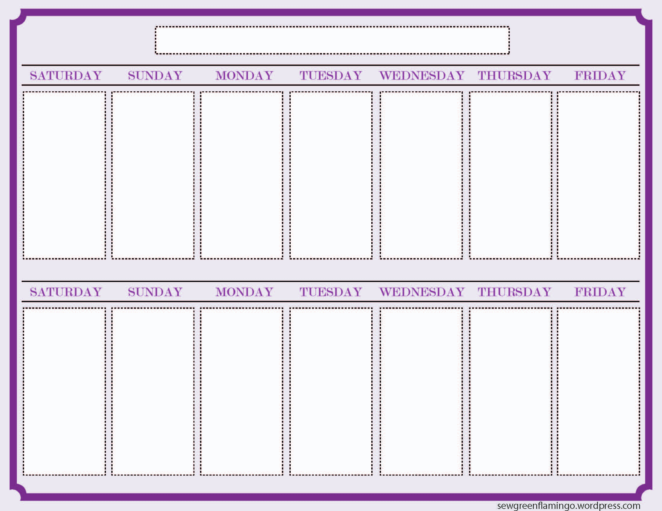 Two Week Calendar Template – Printable Year Calendar inside 2 Week Blank Calendar