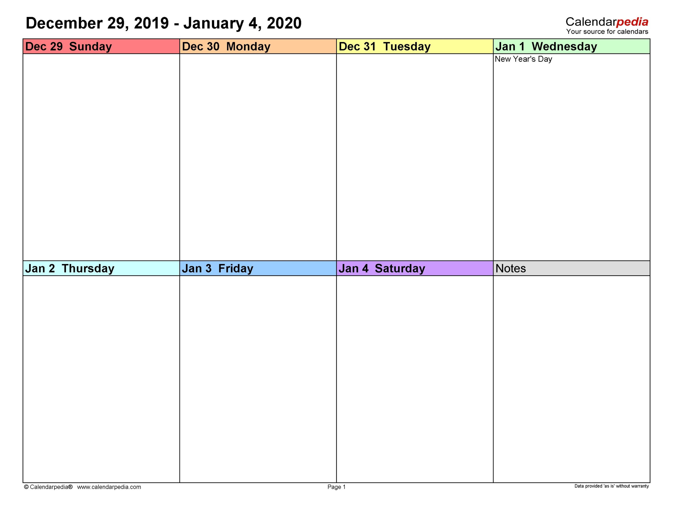 Universal Blank 2 Week Calendar In 2020 | Weekly Calendar throughout 2 Week Calander