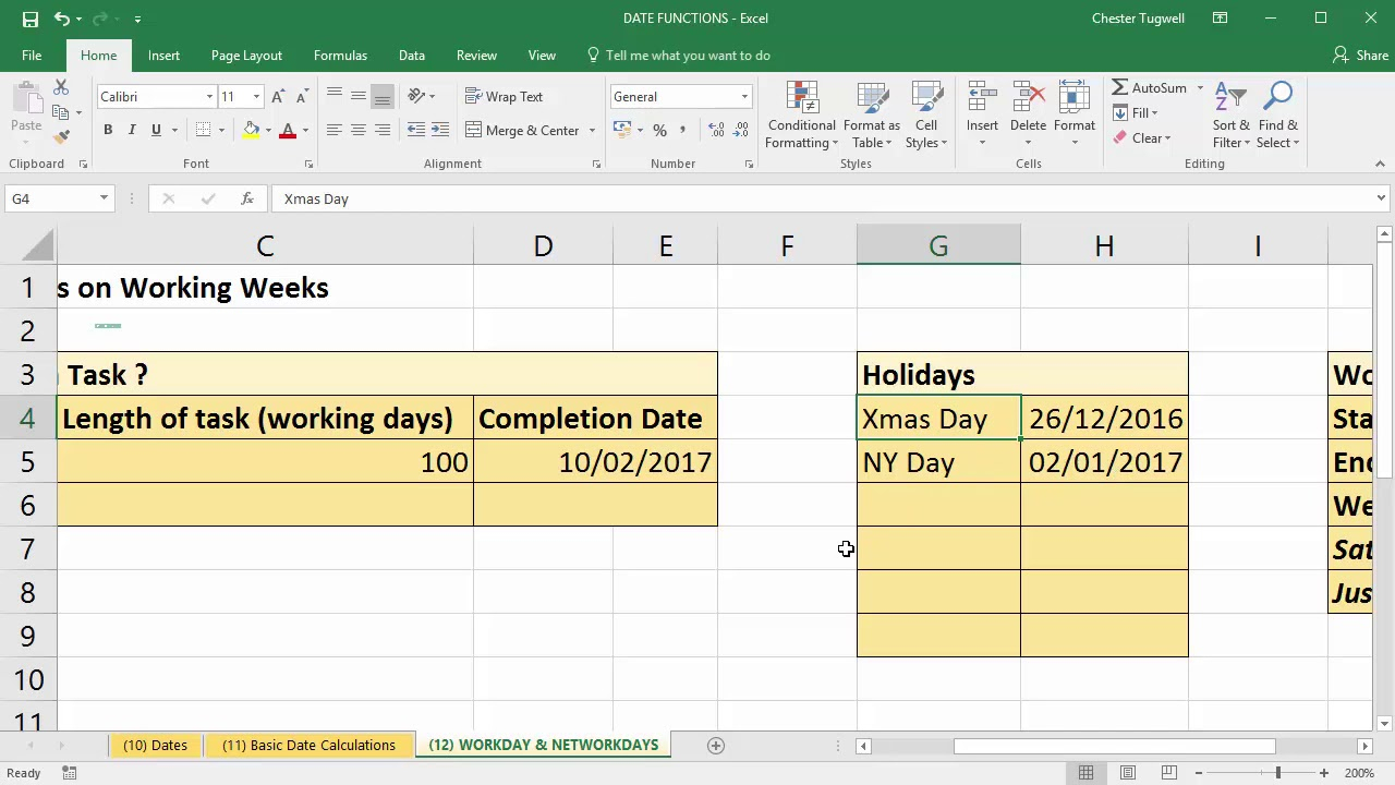 Use Excel To Add Days To Date Excluding Weekends And Holidays in Countdown Minus Weekends