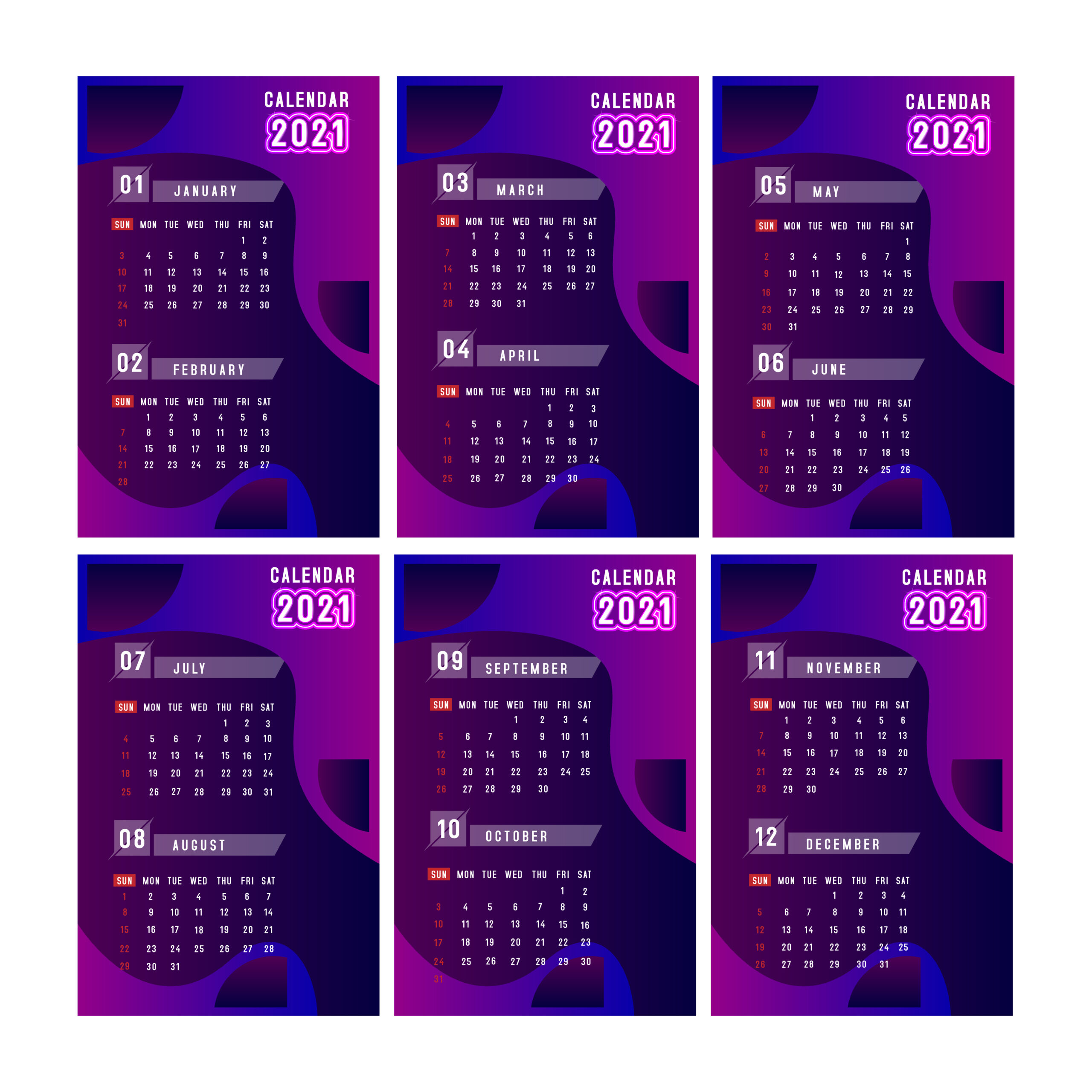 Vertical Purple 2021 Calendar  Download Free Vectors throughout 2021 Calendar Vector Free