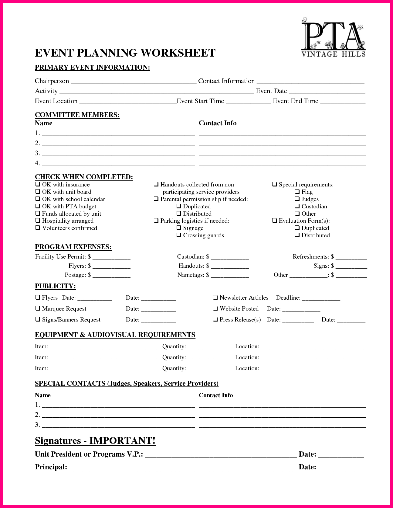 Vhes Pta Event Planning Worksheet By Delrey Pto Stuff in Conference Planning Worksheet