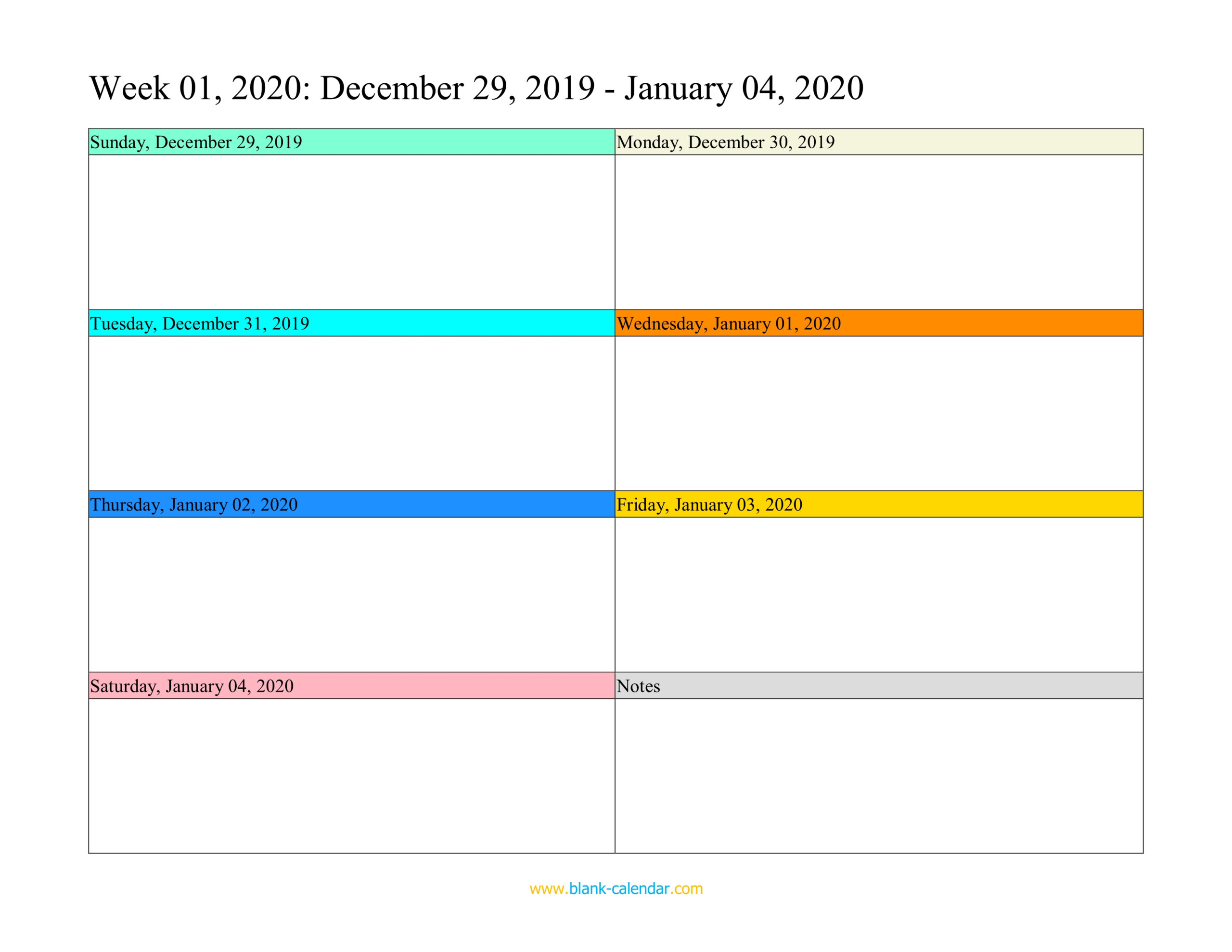 Weekly Calendar 2020 (Word, Excel, Pdf) in Saturday Through Friday Calendar