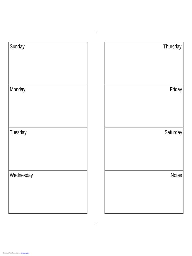 Weekly Calendar (Sundaysaturday)  Edit, Fill, Sign Online inside Monday Through Saturday Calendar