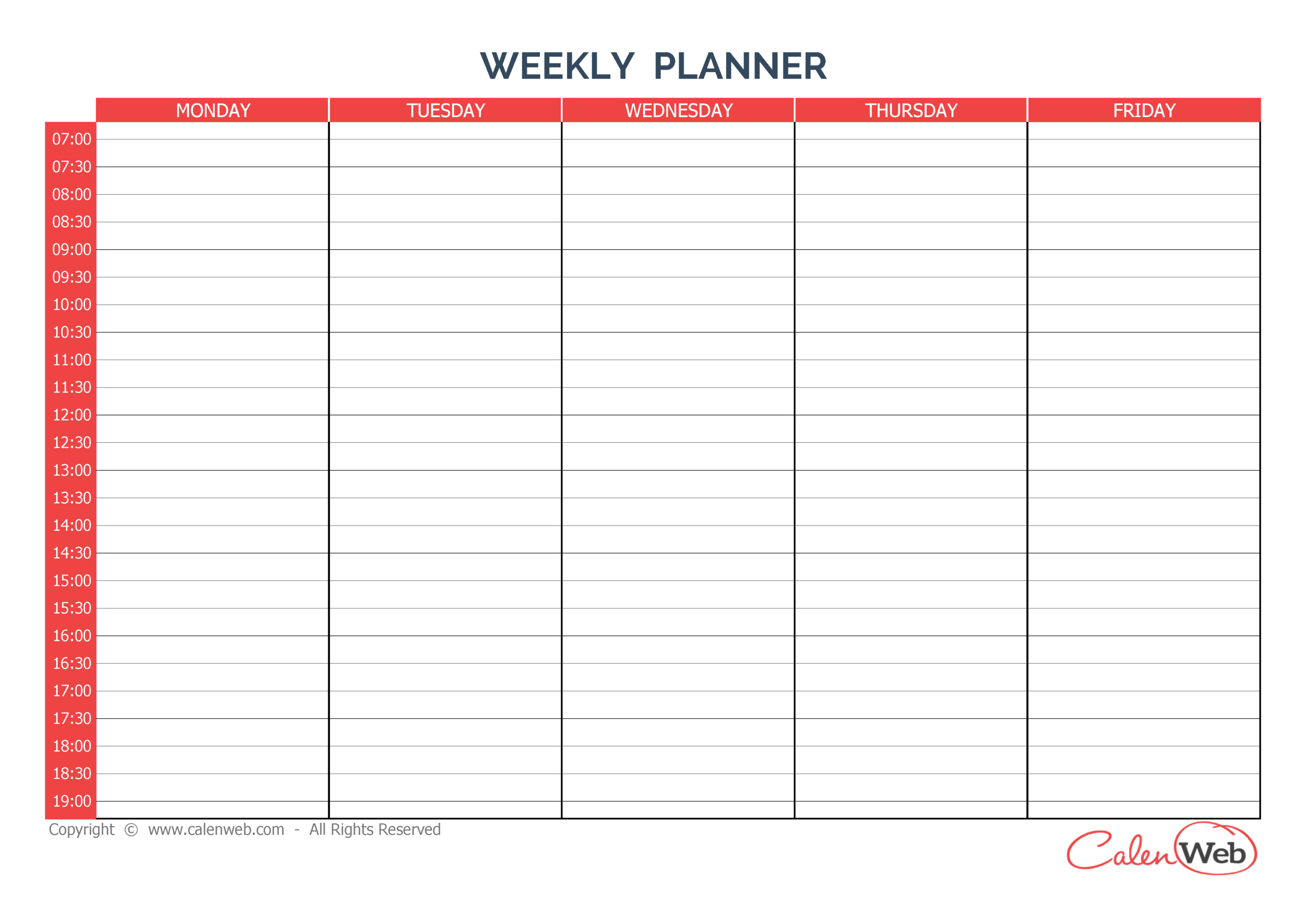 Weekly Planner 5 Days A Week Of 5 Days  Calenweb inside Free Printable Monday Through Friday Calendar