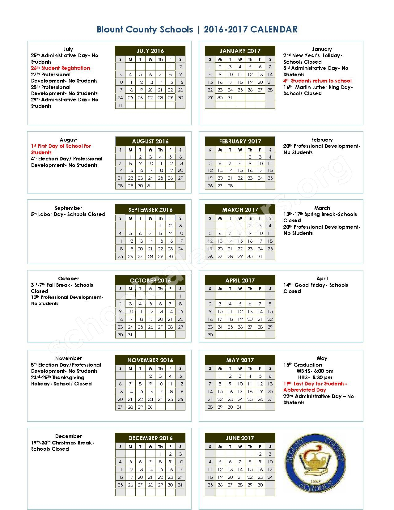 William Blount High School Calendars  Maryville, Tn within Grandview School District Calendar