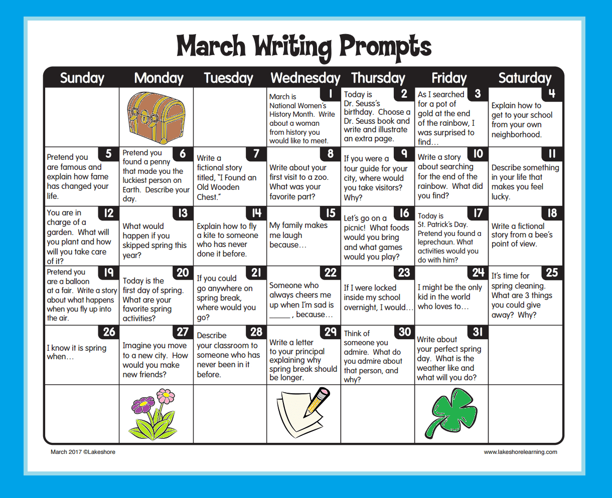 Writing Prompts 3Rd Grade Printable  Printall within Lakeshore Learning Writing Prompts