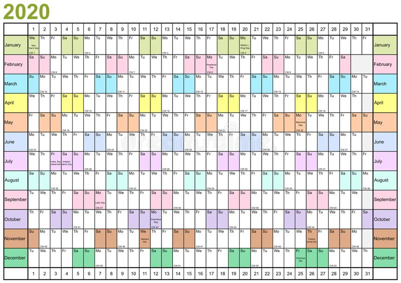 Year Planner 2020 Linear Usa In Different Colors Stock with regard to Linear Calendar Template