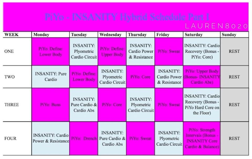 Yopiyoinsanity And Piyo Hybrid (Starts Monday) Because throughout Insanity Max 30 Hybrid Calendar