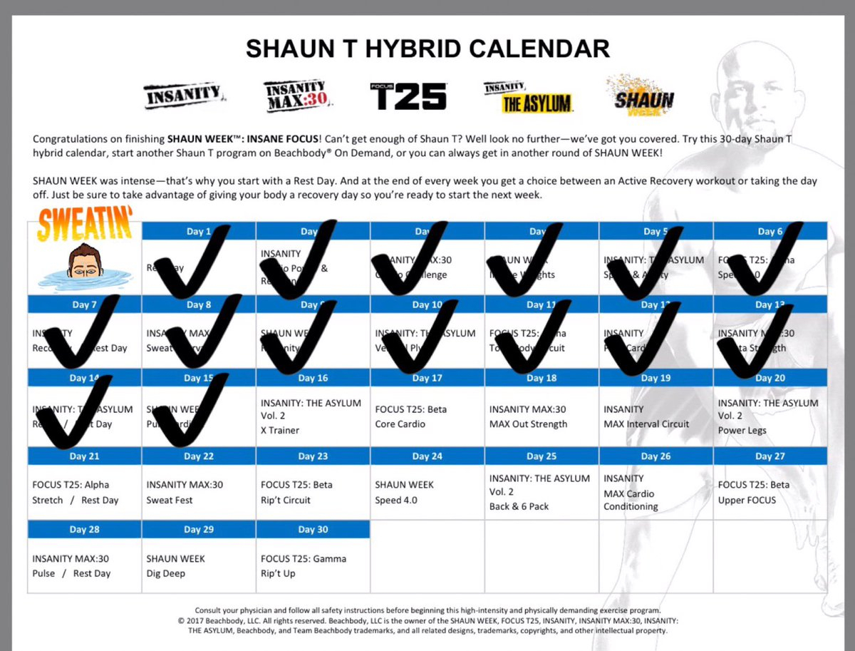 "Zach Snow On Twitter: ""Shaun Week: Pure Cardio 2 Is Done within Shaun T Hybrid Calendar"
