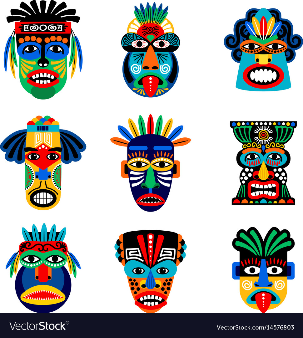 Zulu Or Aztec Mask Icons Royalty Free Vector Image for Aztec Masks Template