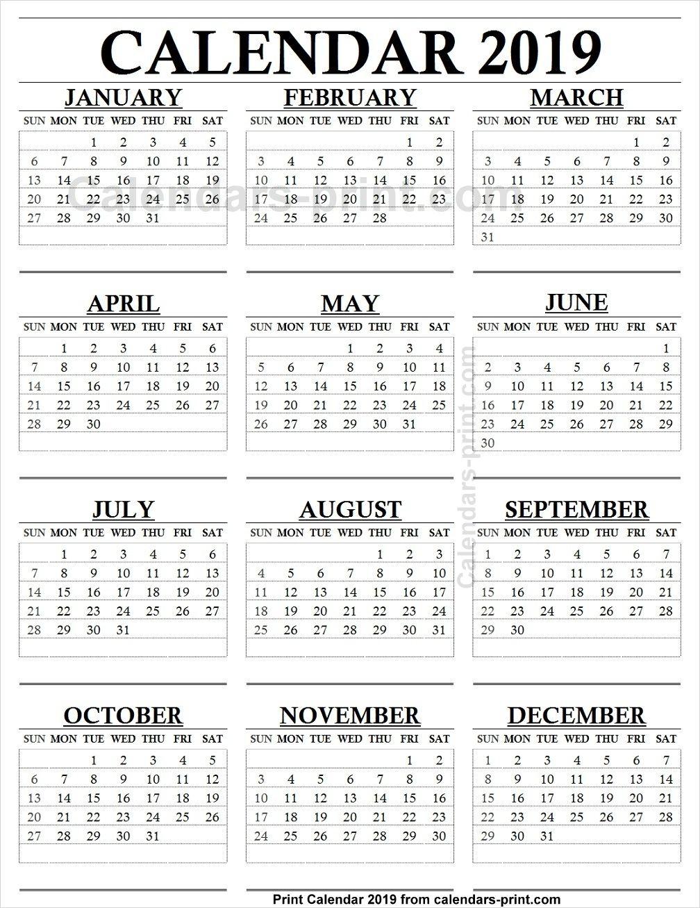 12 Month Calendar 2019 One Page To Print Free | Blank Pdf regarding Blank 12 Month Calendar