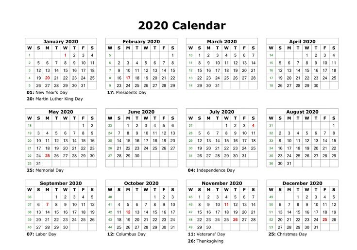 12 Month Calendar One Page In 2020 | Free Printable throughout Calendar Template 12 Months One Page