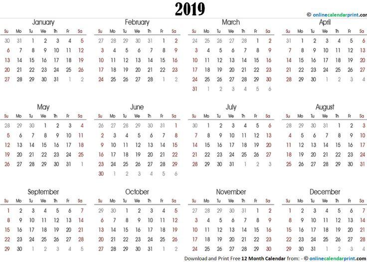 12 Month Calendar One Page Template | Calendar Template pertaining to Calendar Template 12 Months One Page