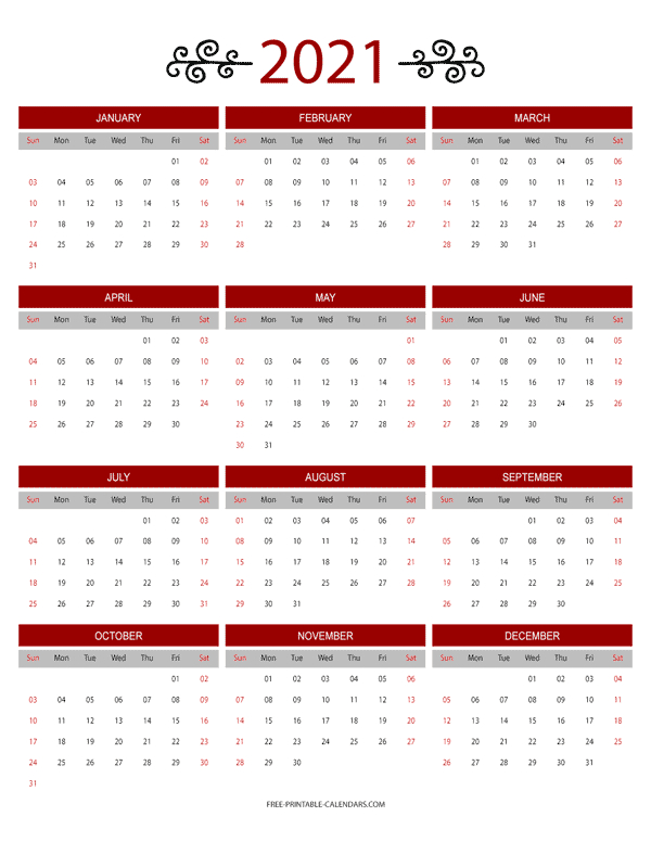 12 Month Colorful Calendar For 2021  Free Printable Calendars with Printable 3 Month Calendar 2021 Free