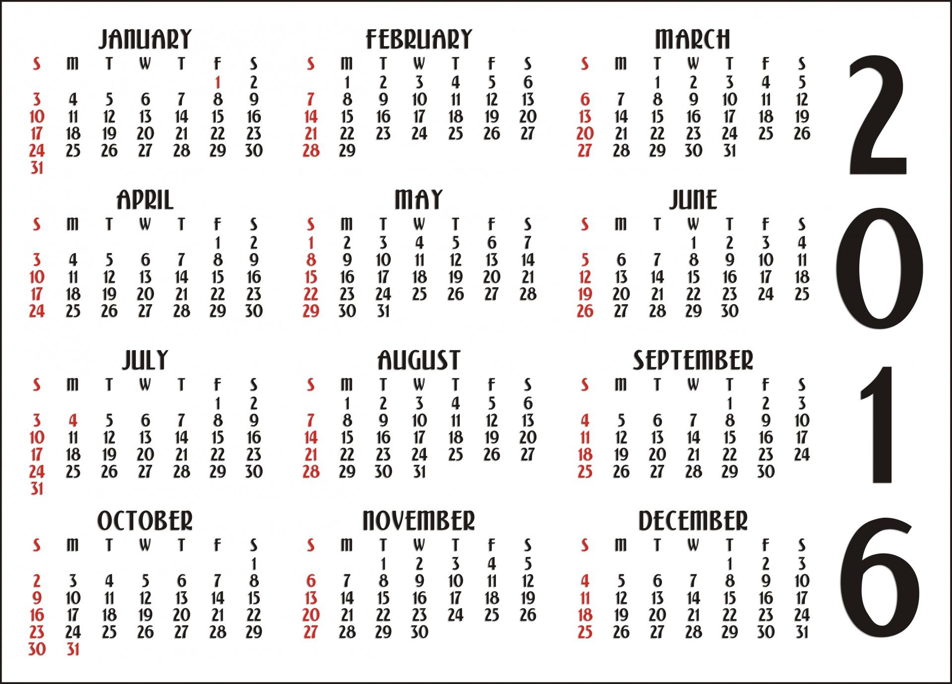 12 Months Calendar  Printable Year Calendar regarding Calendar Template 12 Months One Page