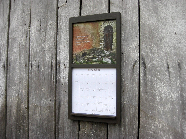 12 X 24 Wood Frame Calendar Holder In Dark Gray within Calendar Frames And Holders