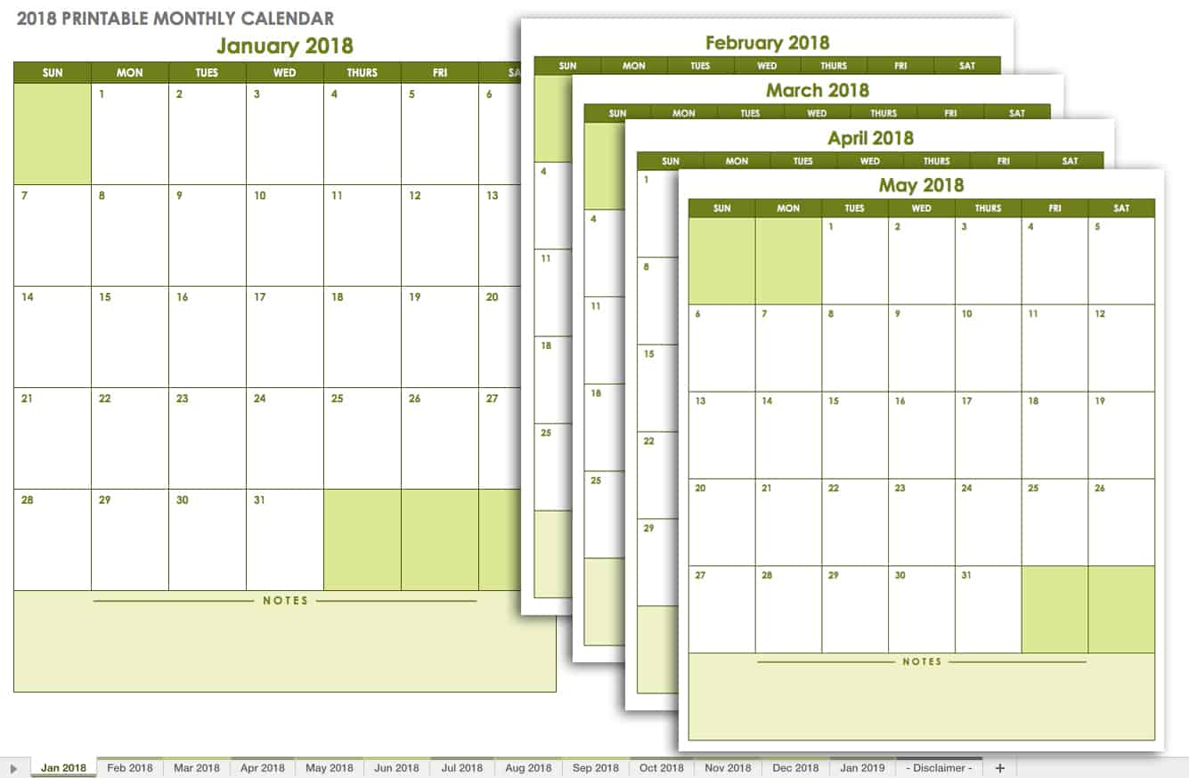 15 Free Monthly Calendar Templates | Smartsheet for 4 Month Printable Calendar