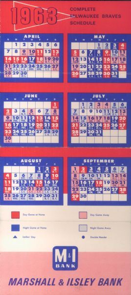1963 Milwaukee Braves Pocket Schedule, Printed By Marshall intended for Atlanta Braves Schedule Calendar
