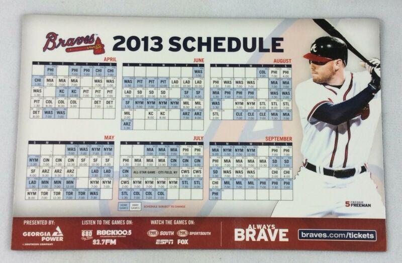 2013 Atlanta Braves Baseball Magnet Schedule  Freddie in Atlanta Braves Schedule Calendar