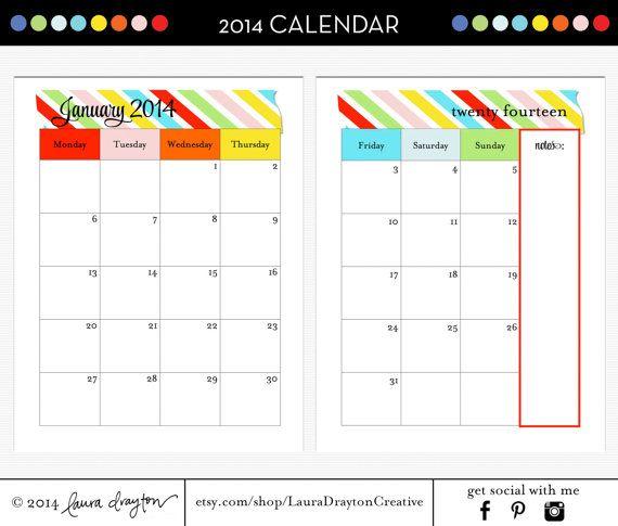 2014 Splitpage Calendar  Monday To Sunday  Sunday To inside Calendar Sunday To Saturday