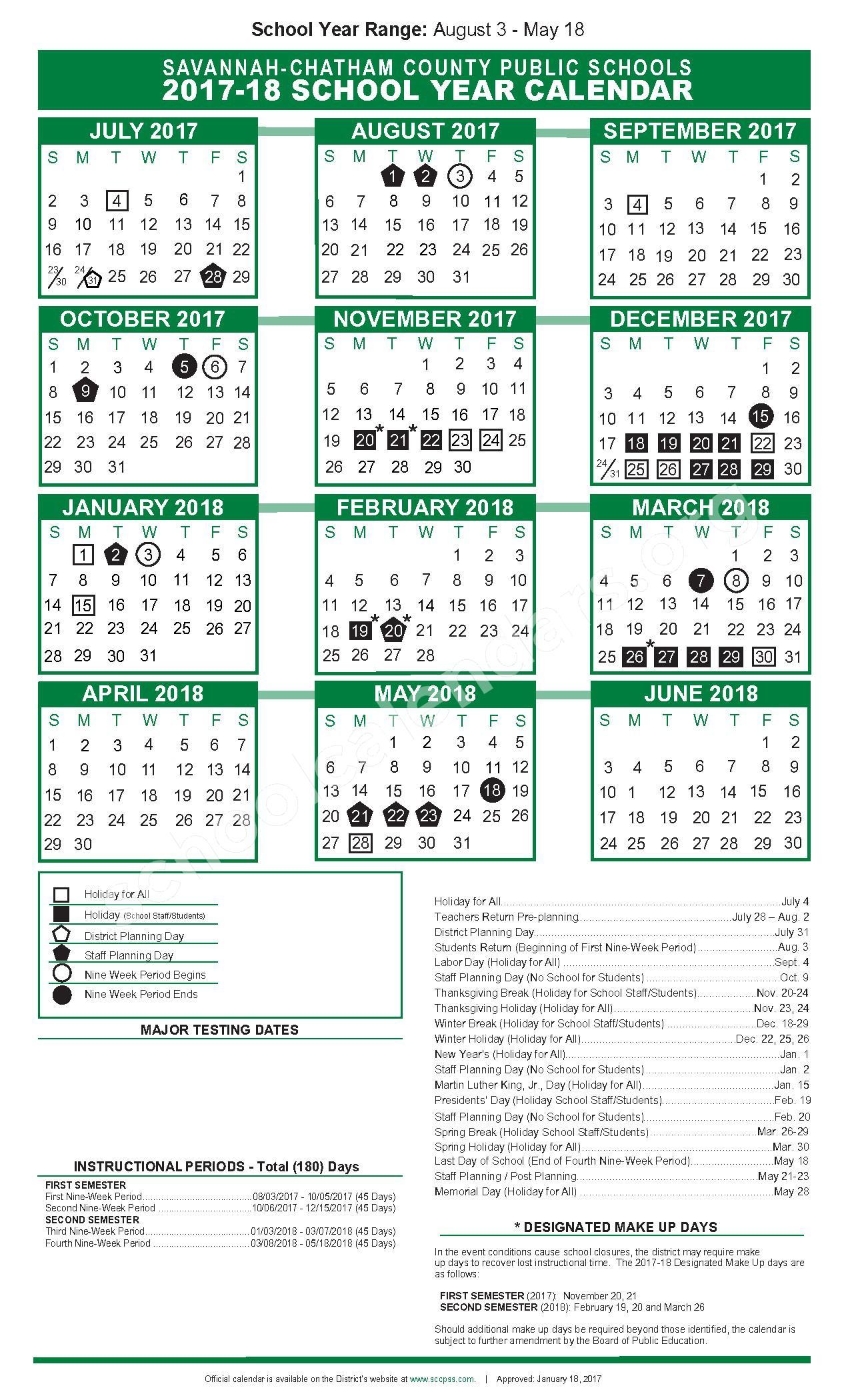 2017  2018 Academic Calendar | Chatham County School regarding Uga Academic Calendar