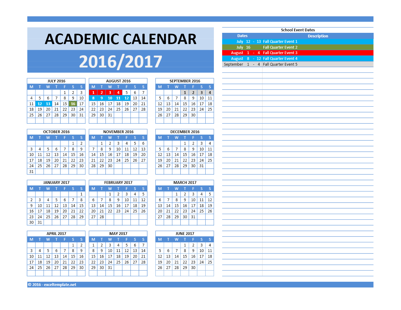20172018 And 20162017 School Calendar Templates | Excel within Yearly Event Calendar Template Excel