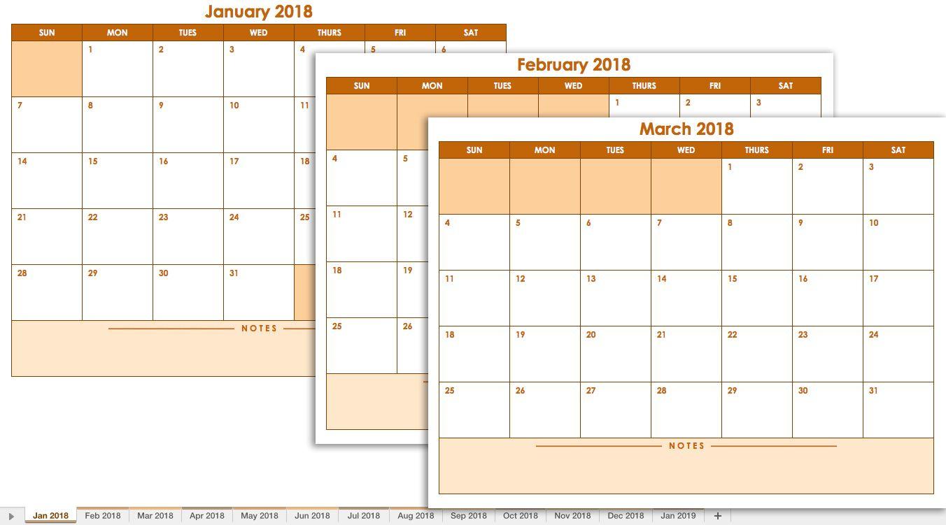2018 Blank Monthly Calendar Landscape Template | Excel pertaining to Blank Monthly Calendar Portrait