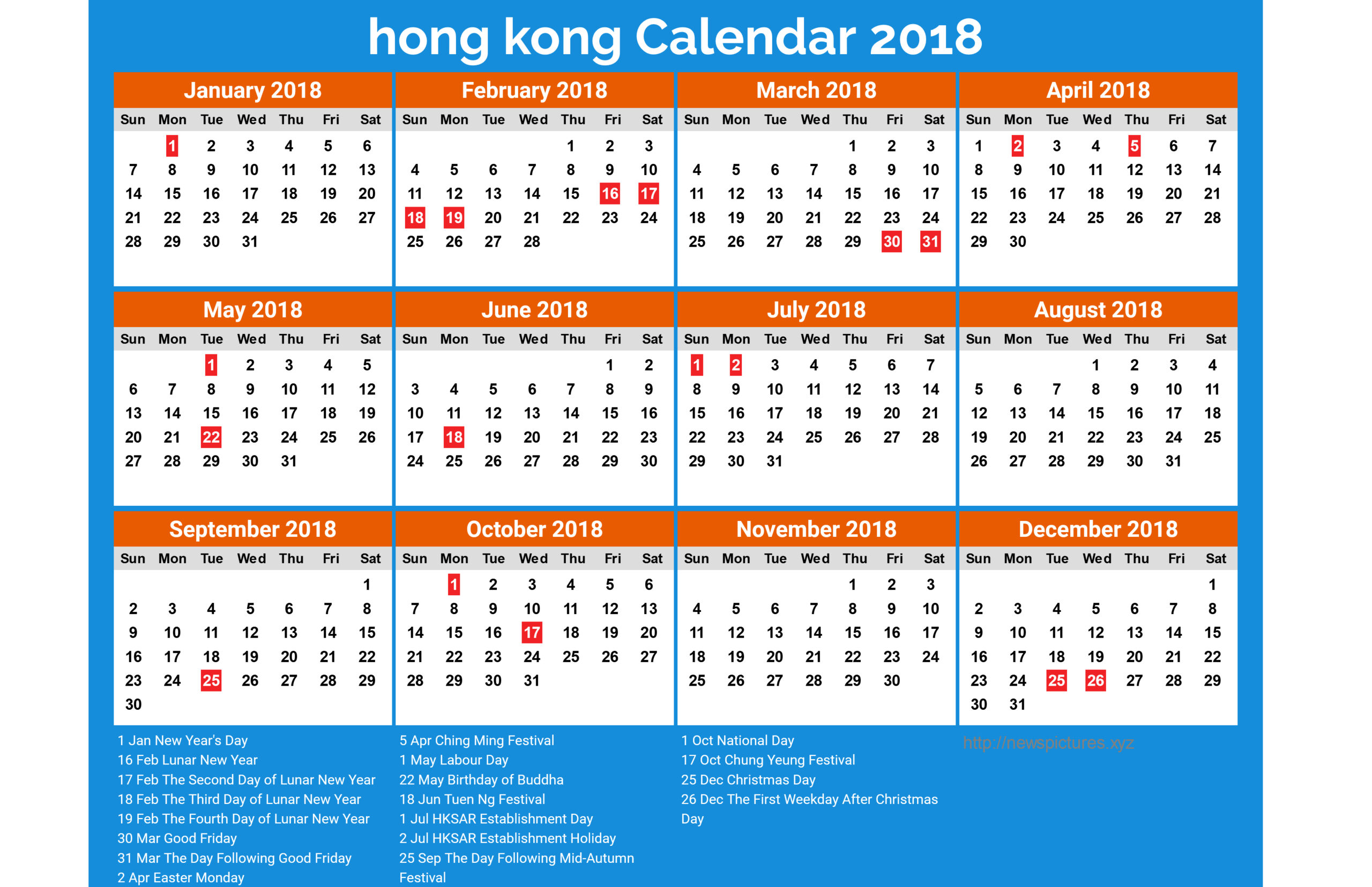 2018 Calendar Hong Kong  Printable Year Calendar with regard to 2021 Calendar Hong Kong Excel Format