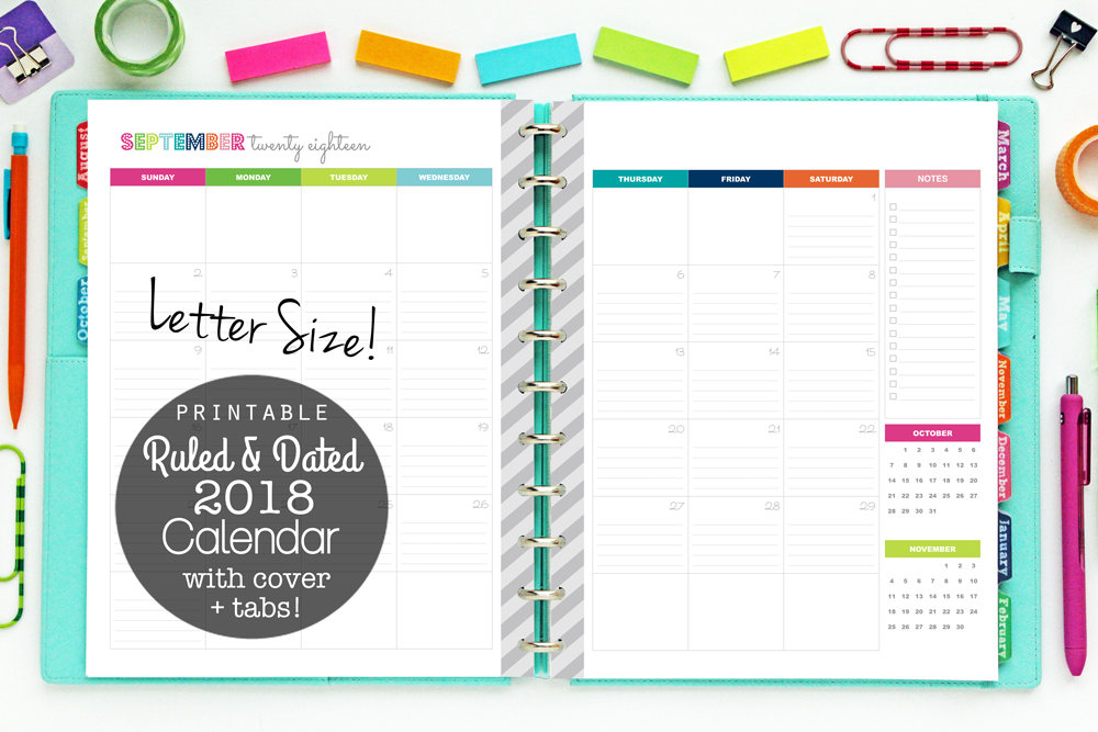 2018 Calendar Printable Planner Ruled And Dated Lined pertaining to Free Printable Monthly Calendar Pages With Lines