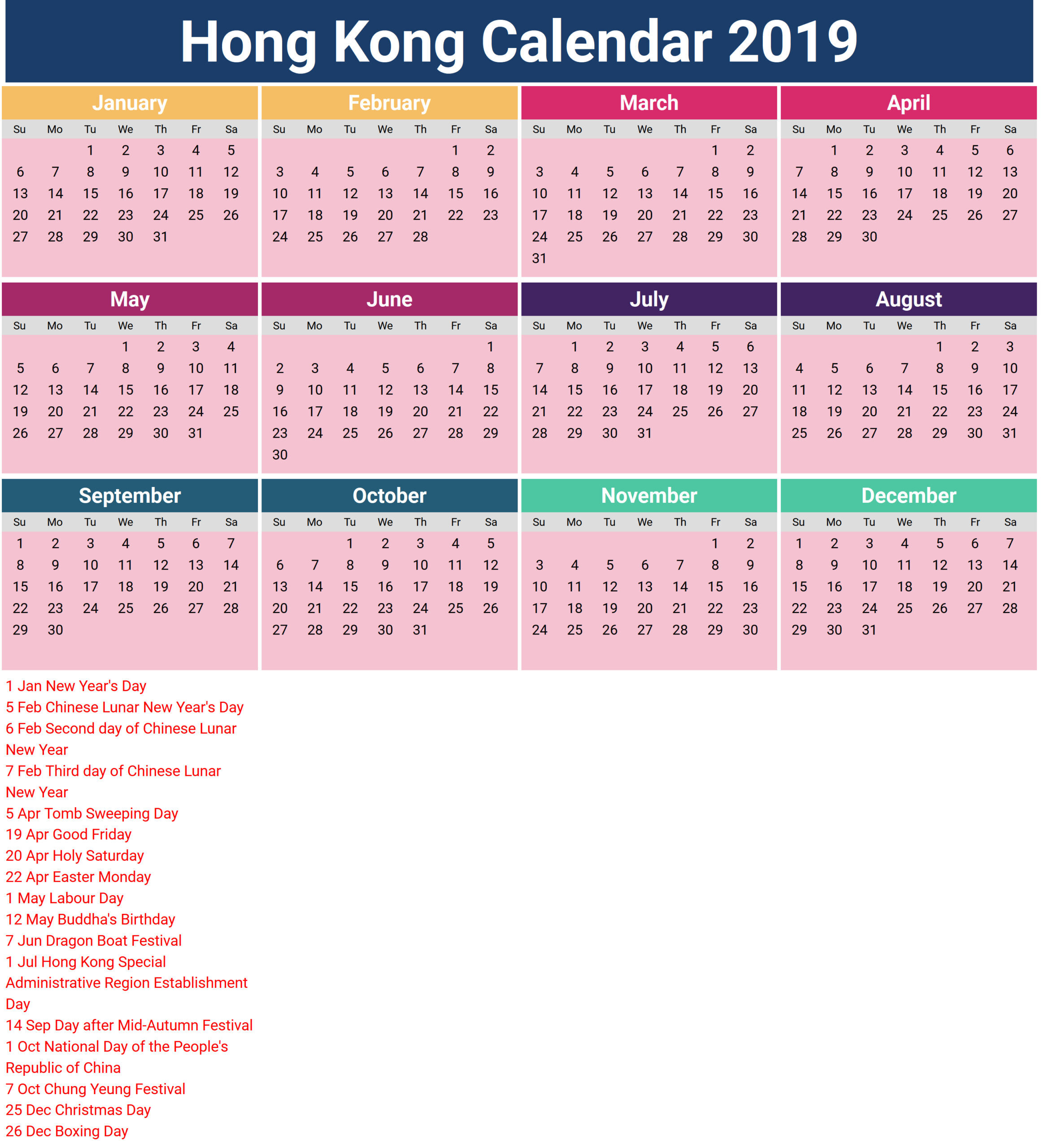 2019 Calendar Hong Kong pertaining to 2021 Calendar Hong Kong Excel Format