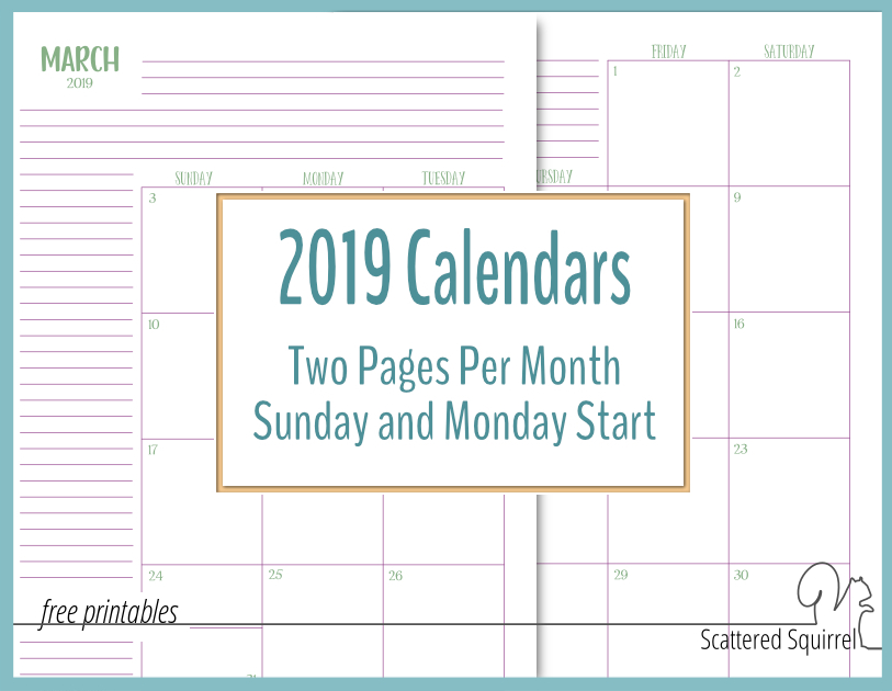 2019 Two Page Per Month Calendars  Scattered Squirrel in Free Printable Monthly Calendar Pages With Lines