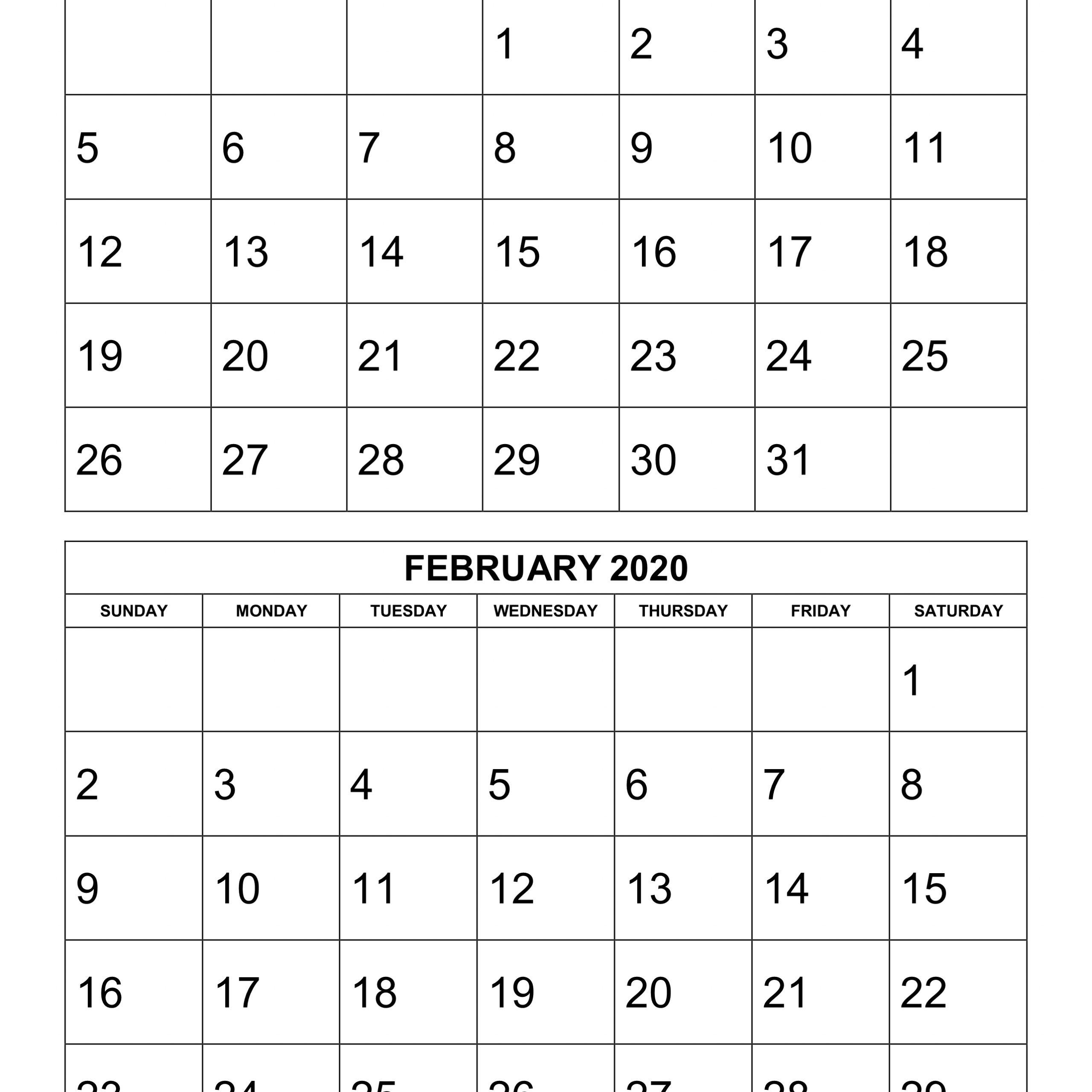 2020 6 Month Calendar Template | Free Printable Calendar for 6 Month Printable Calendar