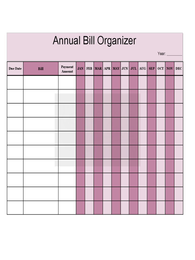 2020 Bill Organizer Chart  Fillable, Printable Pdf with regard to Bill Organizer Printable Free