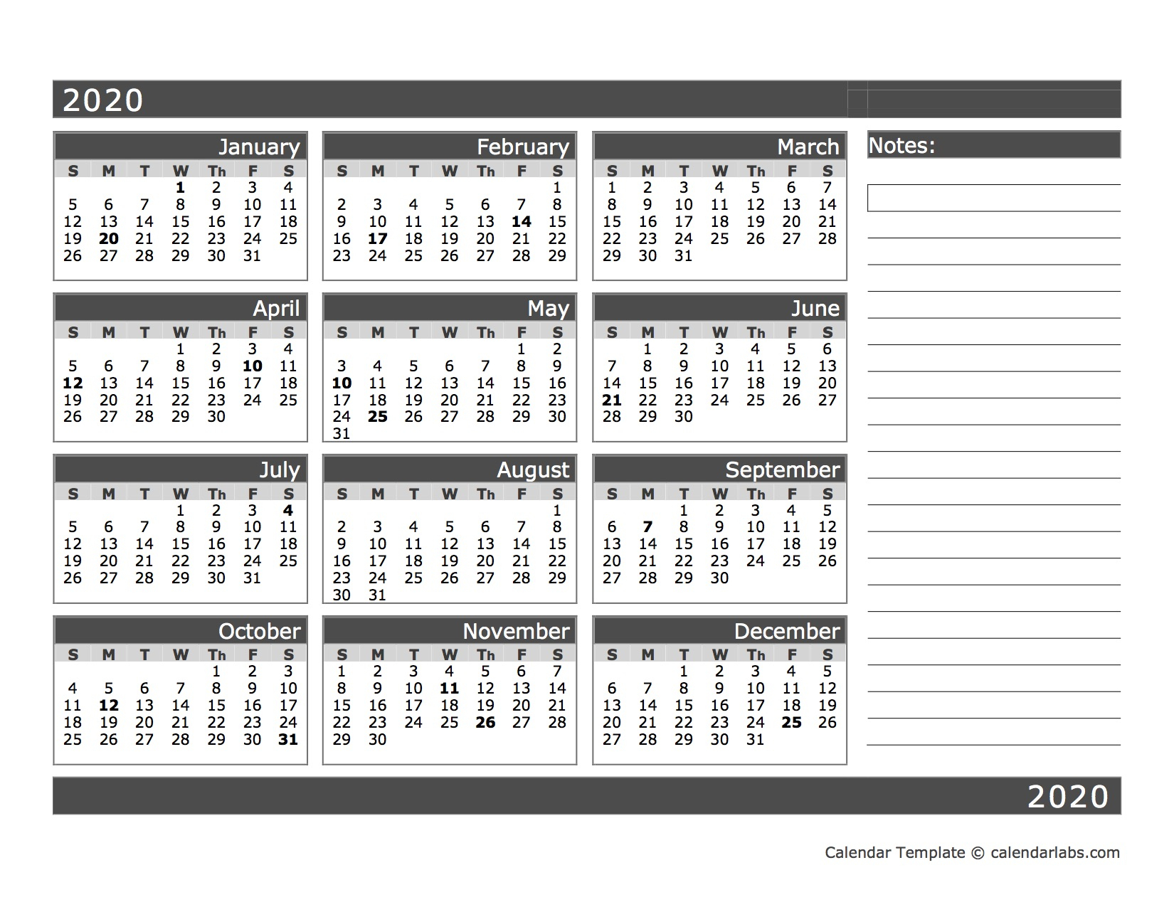 2020 Blank 12 Month Calendar In One Page  Free Printable within Calendar Template 12 Months One Page