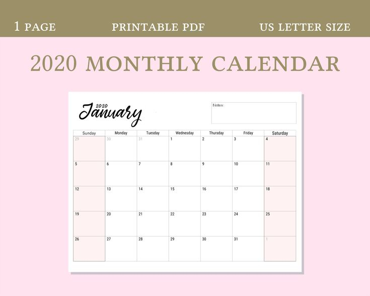 2020 Calendar Digital Download Pdf, Horizontal Calendar throughout Blank Monthly Calendar Portrait