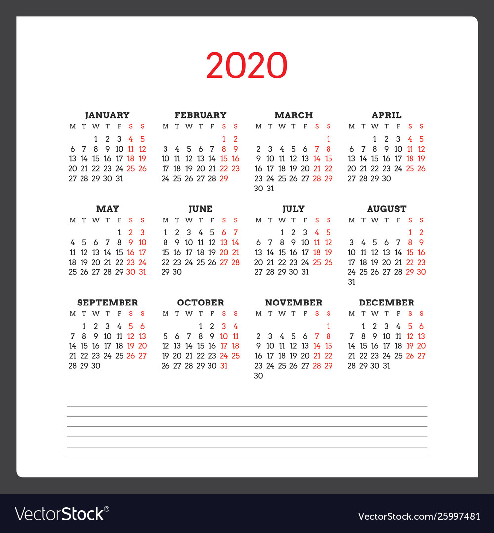 2020 Calendar Mondays | Calendar For Planning with regard to 2021 Calendar Hong Kong Excel Format