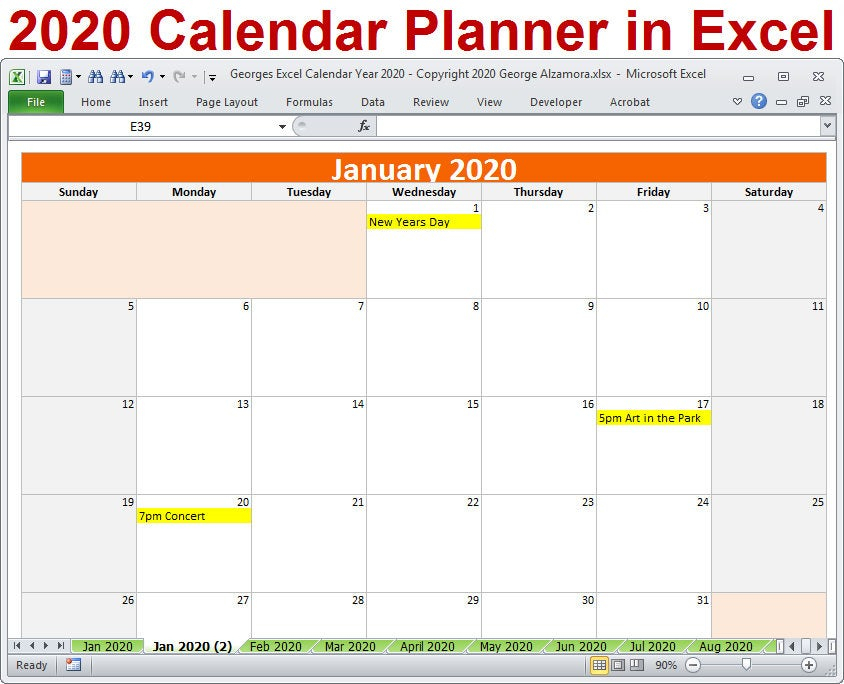 2020 Calendar Year Planner Excel Template 2020 Monthly | Etsy pertaining to Excel Quarterly Calendar Template