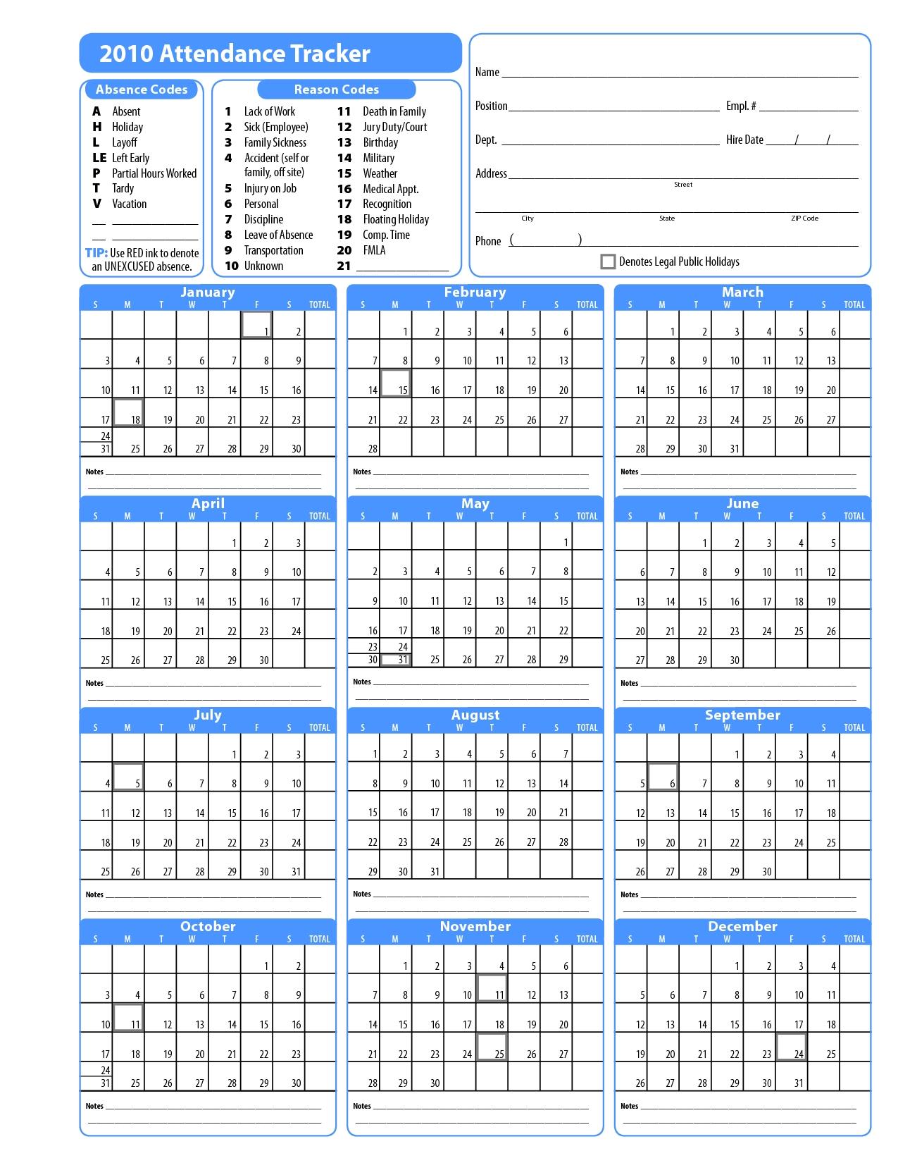 2020 Employee Attendance Calendar Pdf  Template Calendar regarding Employee Vacation Calendar Excel