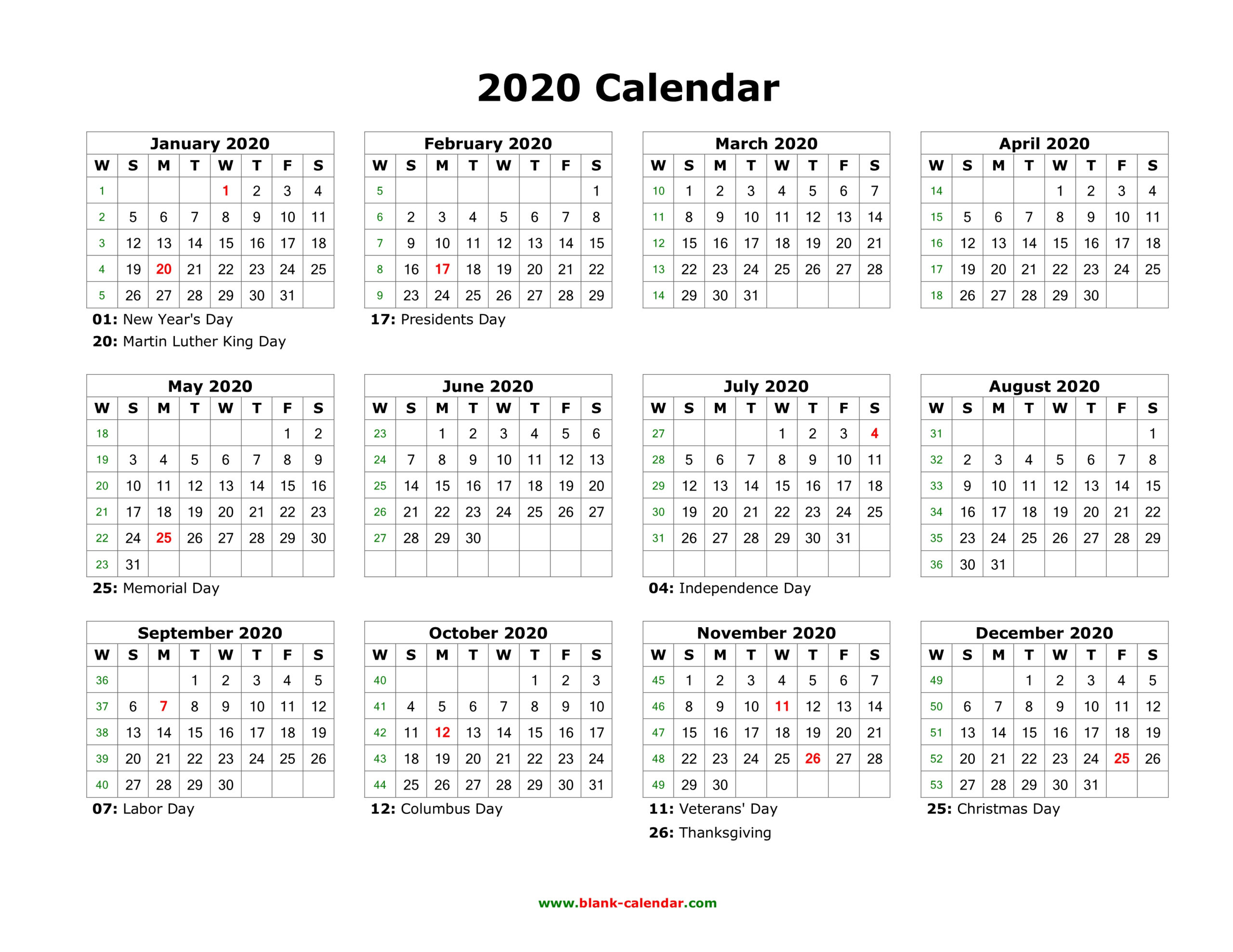 2020 Year At A Glance Free Printable Calendar | Calendar pertaining to Blank Year At A Glance Calendar