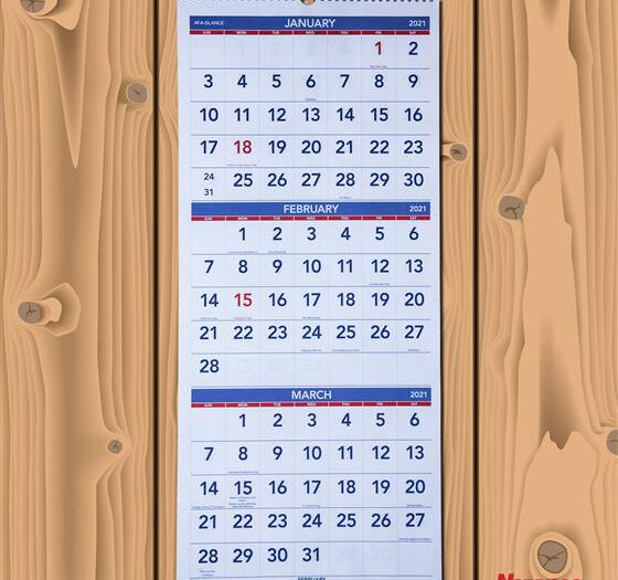 2021 Ataglance Pm1128 3Month Wall Calendar, 1214 X throughout Printable 3 Months At A Time Calendar 2021
