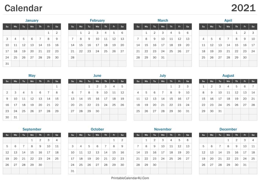 2021 Calendar Printable for 3 Month Printed A3 Calendar 2021