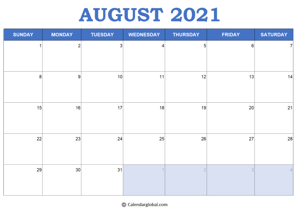 2021 Excel Calendar: Free Printable Monthly Templates with Free Calendar Template August 2021