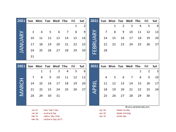 2021 Four Month Calendar With Australia Holidays  Free within 4 Month Printable Calendar