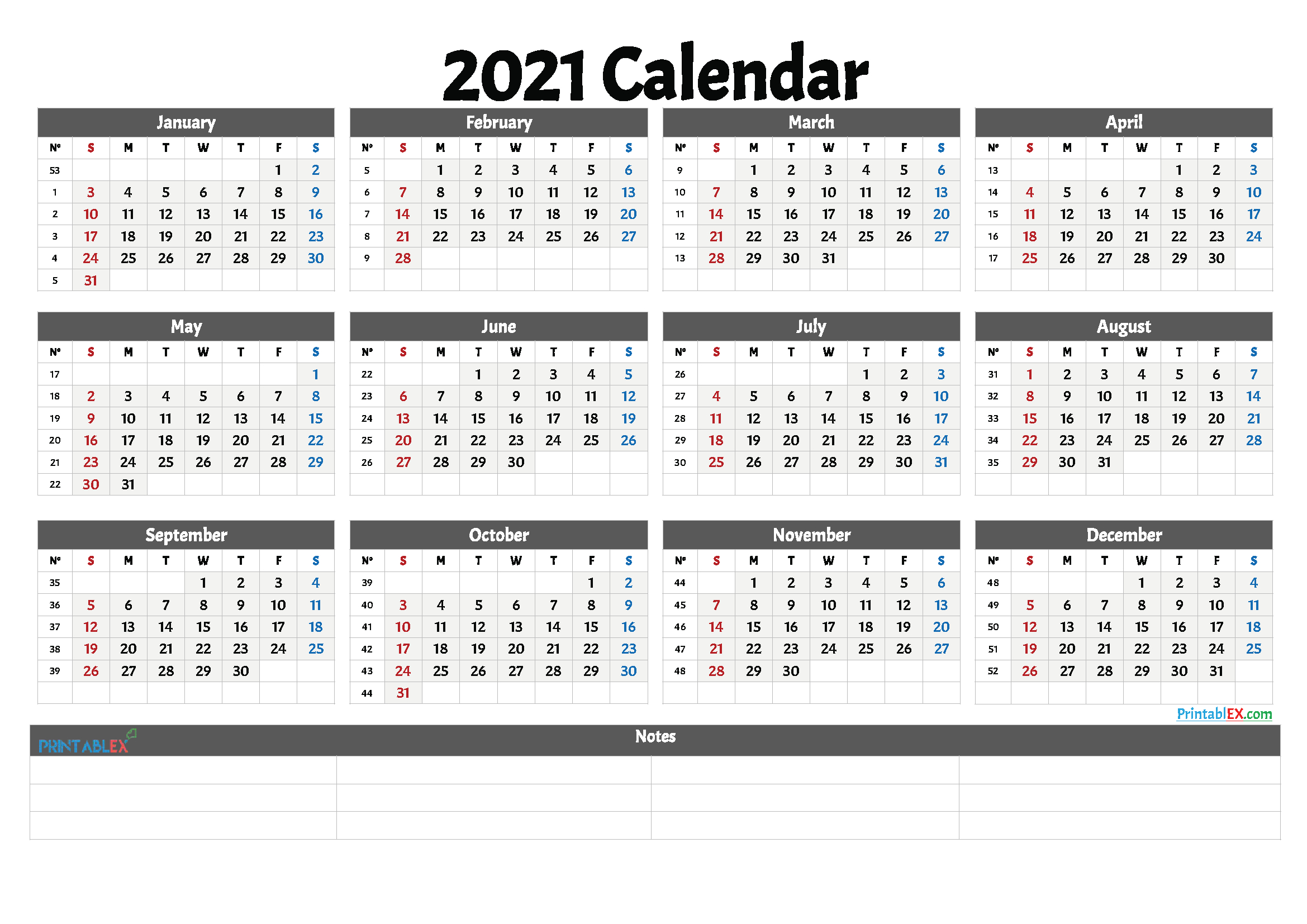2021 Free Printable Yearly Calendar With Week Numbers pertaining to 3 Month Printed A3 Calendar 2021